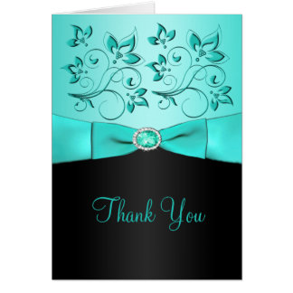 Aqua and Black Floral Thank You Card