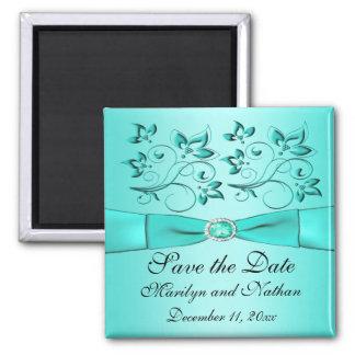 Aqua and Black Floral Wedding Favor Magnet