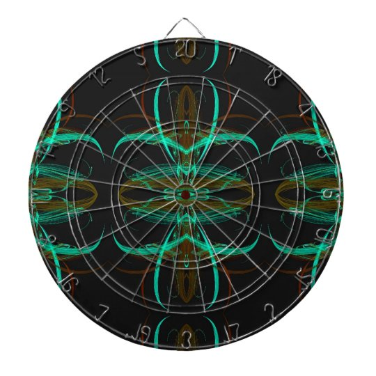Aqua and Black Fractal Dart Board
