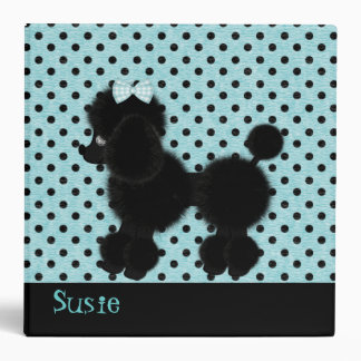 Aqua and Black French Poodle Binder