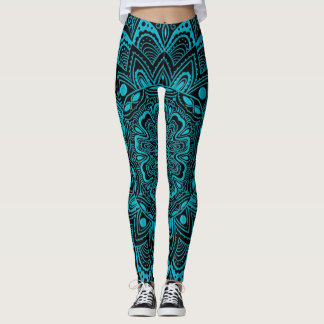 Aqua and Black Lace Mandala Leggings