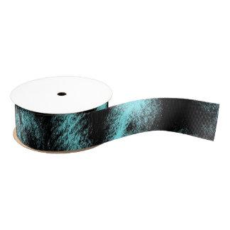 Aqua and Black Modern Art Grosgrain Ribbon