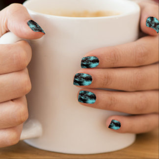 Aqua and Black Modern Art Minx Nail Art