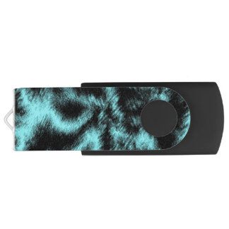 Aqua and Black Modern Art USB Flash Drive