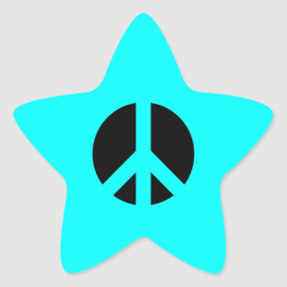Aqua and Black Peace Symbol Star Sticker