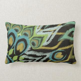 Aqua and Black Peacock Lumbar Pillow
