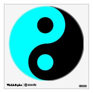 Aqua and Black Yin Yang Symbol Wall Sticker