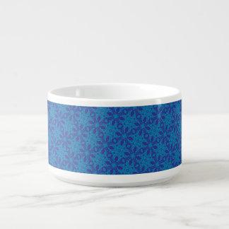 Aqua and Blue Abstract Chili Bowl