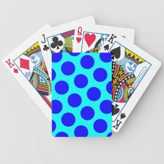 Aqua and Blue Polka Dots Bicycle Playing Cards