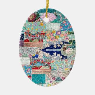 Aqua and Blue Quilt Tapestry Design Ceramic Ornament