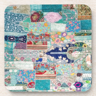 Aqua and Blue Quilt Tapestry Design Coaster