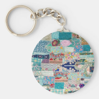 Aqua and Blue Quilt Tapestry Design Keychain