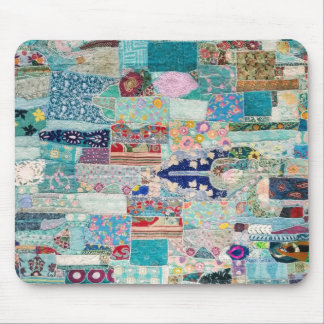 Aqua and Blue Quilt Tapestry Design Mouse Pad