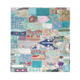 Aqua and Blue Quilt Tapestry Design Notepad