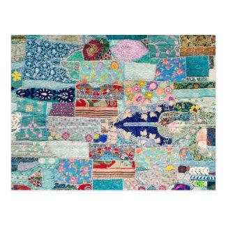 Aqua and Blue Quilt Tapestry Design Postcard
