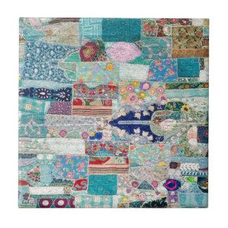 Aqua and Blue Quilt Tapestry Design Tile
