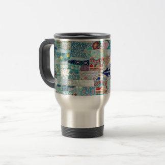 Aqua and Blue Quilt Tapestry Design Travel Mug