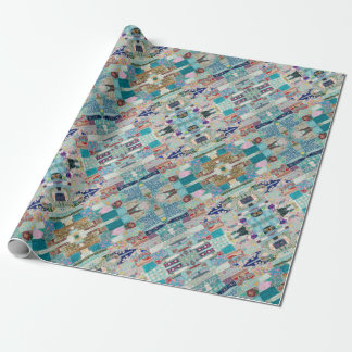 Aqua and Blue Quilt Tapestry Design Wrapping Paper