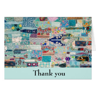Aqua and Blues Quilt Design Thank You Card