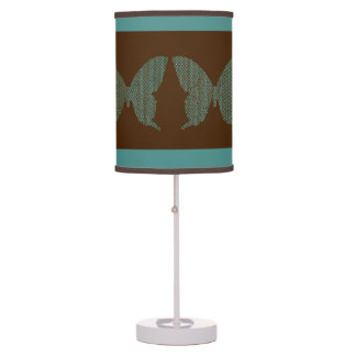 Aqua and Brown Butterflies Table Lamp