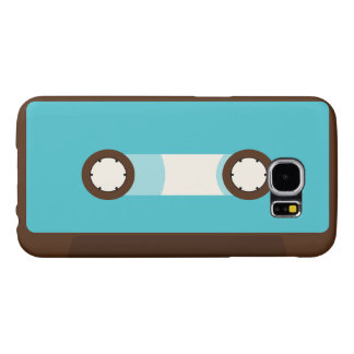 Aqua and Brown Retro Cassette Tape Samsung Galaxy S6 Case