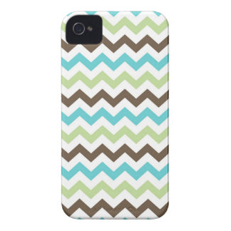 Aqua and Brown Zig Zag Chevrons Pattern iPhone 4 Cover