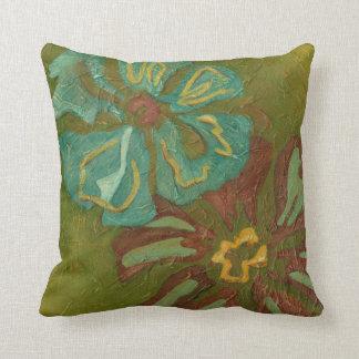 Aqua and Burnt Orange Flowers on Green Background Throw Pillow