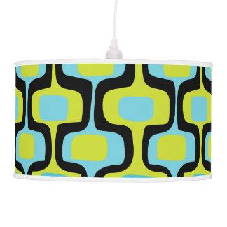 Aqua and Chartreuse Mid-Century Modern Pattern Pendant Lamp