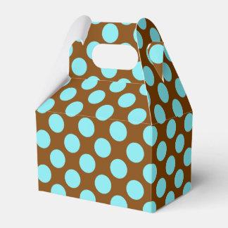 Aqua and Chocolate Polka Dot Favor Box