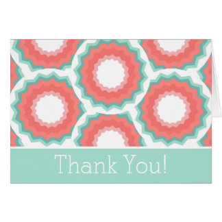 Aqua and Coral Abstract Floral Thank You Card