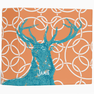 Aqua and Coral Buck Deer Stag Geometric Binder