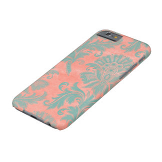 Aqua and Coral Damask I-Phone Case