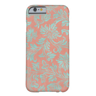 Aqua and Coral Damask Phone Case
