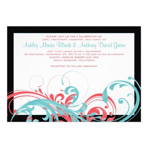 Aqua and Coral Floral Wedding Invitation