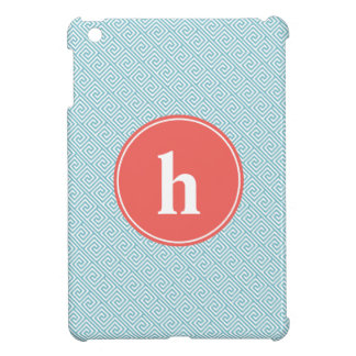 Aqua and Coral Greek Key Pattern Monogram Cover For The iPad Mini
