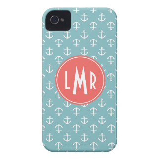 Aqua and Coral Monogram Anchors Pattern iPhone 4 Case