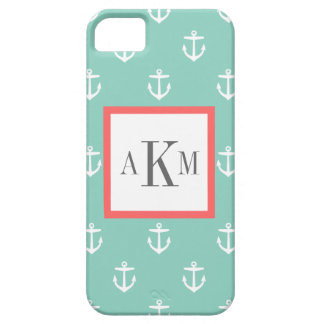 Aqua and Coral Nautical Anchor Custom Monogram iPhone 5 Case