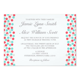 Aqua and Coral Polka Dot Wedding Invitation