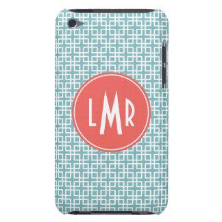 Aqua and Coral Square Lattice Pattern Monogram Barely There iPod Cover