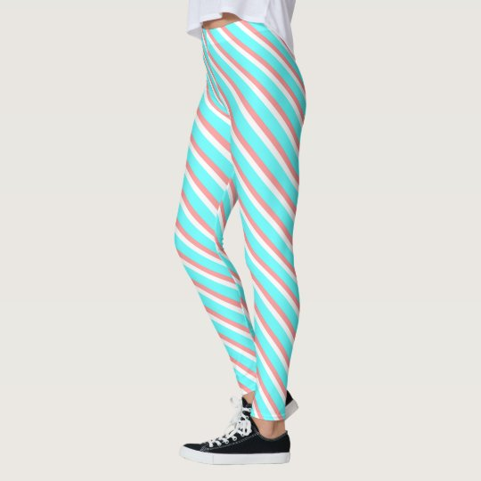 Aqua and Coral Stripes Leggings