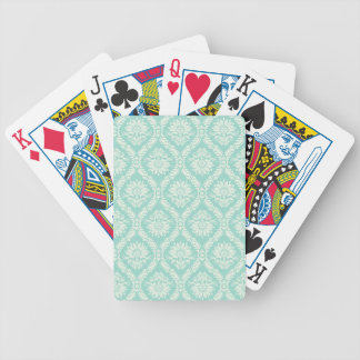 aqua and cream fleur elegant damask bicycle playing cards