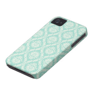 aqua and cream fleur elegant damask iPhone 4 covers