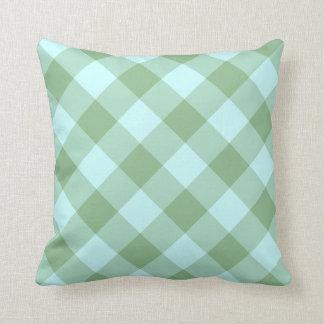 Aqua and Dark Sea Green Gingham Throw Pillow