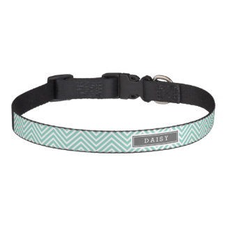 Aqua and Gray Chevron Monogram Pet Collar