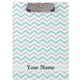 Aqua and gray chevron pattern clipboard