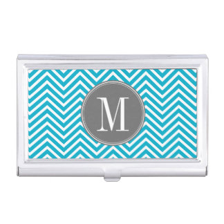 Aqua and Gray Chevron Pattern Custom Monogram Business Card Holder