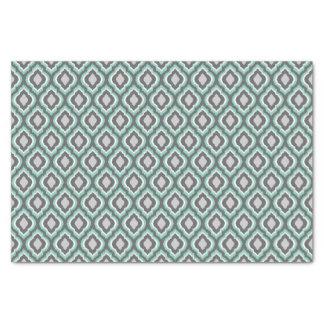 Aqua and Gray Ikat Moroccan Tissue Paper