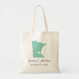 Aqua and Gray Minnesota Wedding Welcome Tote Bag