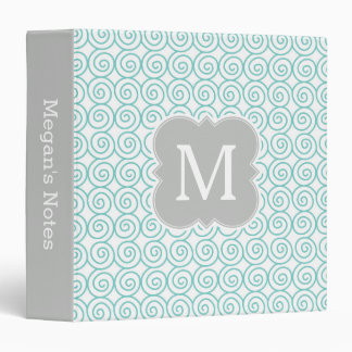 Aqua and Gray Monogram Elegant Pattern 3 Ring Binders