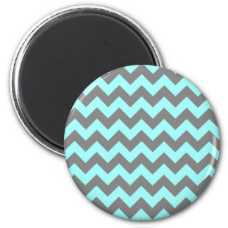 Aqua and Gray Zigzag 2 Inch Round Magnet